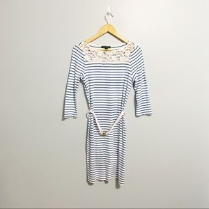 LRL Blue & White Striped Dress with Lace Collar